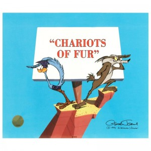 Chariots of Fur Sold Out Limited Edition Animation Cel by Chuck Jones (1912-2002)! With Hand Painted Color