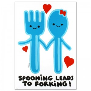 """Spooning Leads to Forking Limited Edition Lithograph (25"""" x 35"""") by Todd Goldman"""
