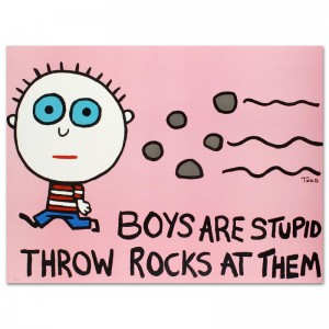 "Boys Are Stupid, Throw Rocks at Them Limited Edition Lithograph (43"" x 32"") by Todd Goldman"