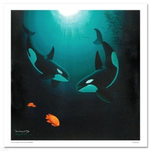 In the Company of Orcas LIMITED EDITION Giclee on Canvas by renowned artist WYLAND