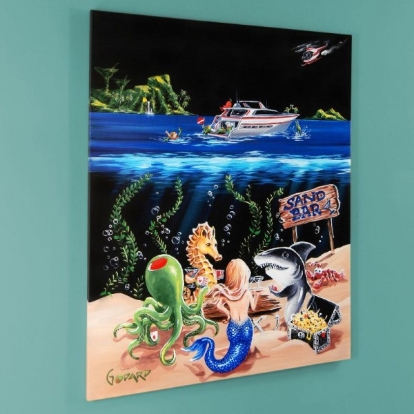 """Sand Bar 1 LIMITED EDITION Giclee on Canvas (28"""" x 35"""") by Michael Godard"""