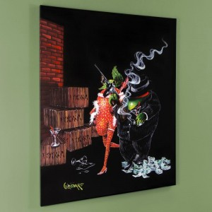 "Ollie Capone Mural LIMITED EDITION Hand-Embellished Giclee on Canvas (42"" x 53"") by Michael Godard"