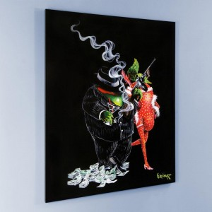 "Gangster Love Mural LIMITED EDITION Hand-Embellished Giclee on Canvas (42"" x 53"") by Michael Godard"