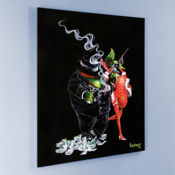 """Gangster Love Mural LIMITED EDITION Hand-Embellished Giclee on Canvas (42"""" x 53"""") by Michael Godard"""