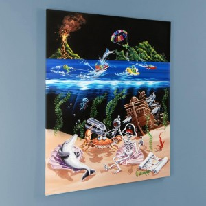 "Sand Bar 2 LIMITED EDITION Hand-Embellished Giclee on Canvas (28"" x 35"") by Michael Godard"