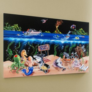 "Sand Bar Limited Edition Hand-Embellished Giclee on Canvas (45"" x 28"") by Michael Godard"