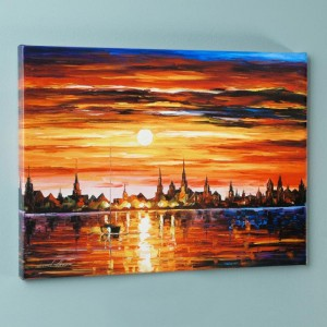 Sunset in Barcelona LIMITED EDITION Giclee on Canvas by Leonid Afremov