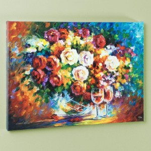 Roses and Wine LIMITED EDITION Giclee on Canvas by Leonid Afremov