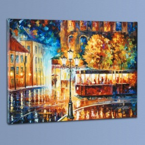 Night Trolley LIMITED EDITION Giclee on Canvas by Leonid Afremov