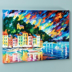 Portofino Harbor - Italy LIMITED EDITION Giclee on Canvas by Leonid Afremov
