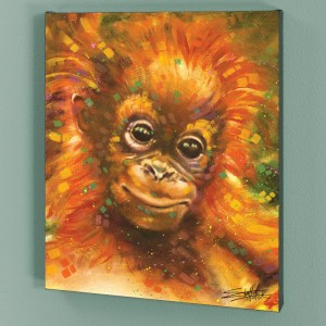 Baby Orangutan LIMITED EDITION Giclee on Canvas by Stephen Fishwick