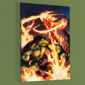Incredible Hulk & The Human Torch: From the Marvel Vault #1 Limited Edition Giclee on Canvas by Mark Bagley and Marvel Comics! Numbered with Certificate of Authenticity! Gallery Wrapped and Ready to Hang!