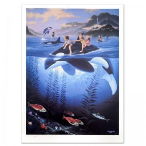 Whale Rides Limited Edition Lithograph by Celebrated Artists Wyland and Jim Warren