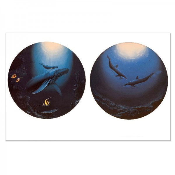 """Innocent Age / Dolphin Serenity Limited Edition Lithograph (38"""" x 25"""") by Renowned Artist Wyland"""