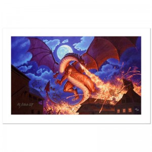 Smaug Destroys Laketown Limited Edition Giclee on Canvas by Greg Hildebrandt! Numbered and Hand Signed by the Artist! Includes Certificate of Authenticity!