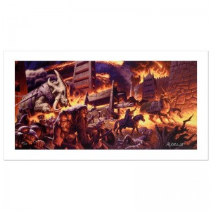 The Siege Of Minas Tirith Limited Edition Giclee on Canvas by The Brothers Hildebrandt! Numbered and Hand Signed by Greg Hildebrandt! Includes Certificate of Authenticity!