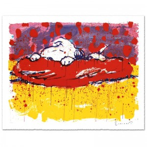 Pig Out Limited Edition Hand Pulled Original Lithograph by Renowned Charles Schulz Protege