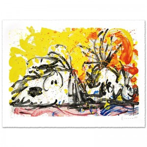 "Blow Dry Limited Edition Hand Pulled Original Lithograph (37"" x 25.5"") by Renowned Charles Schulz Protege"