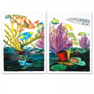 Coral Reef Life Limited Edition Giclee Diptych on Canvas by Renowned Artist Wyland