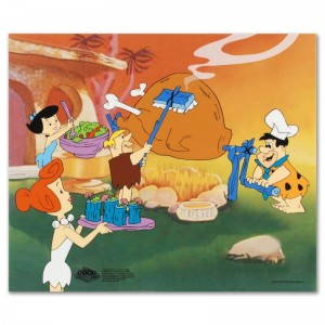 Flintstones Barbecue Limited Edition Sericel from the Popular Animated Series The Flintstones! Includes Certificate of Authenticity!