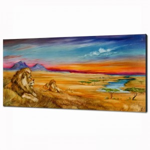 """Pride Of Lions Limited Edition Giclee on Canvas (36"""" x 18"""") by Martin Katon"""