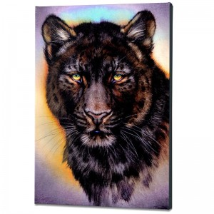 Black Phase Leopard Limited Edition Giclee on Gallery Wrapped Canvas by Martin Katon