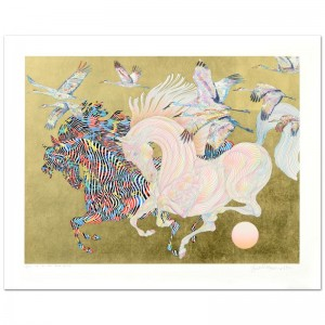 Le Vol Des Grues Limited Edition Serigraph with Hand Laid Gold Leaf by Guillaume Azoulay