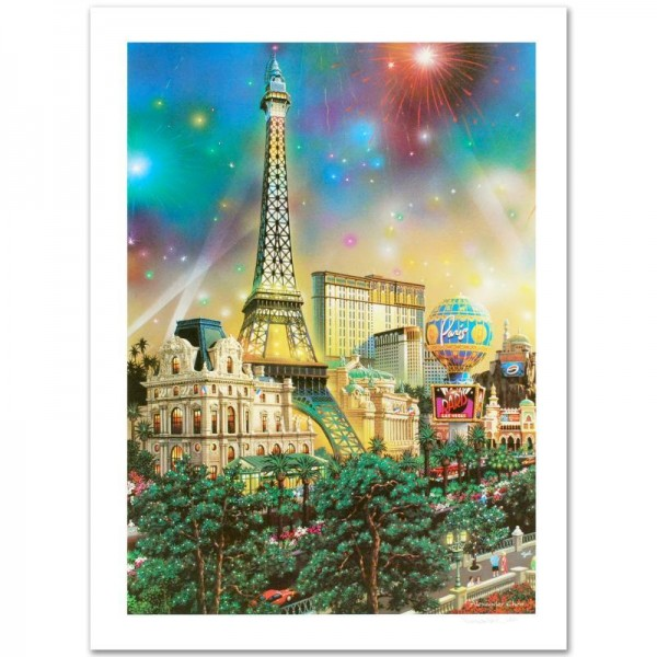 Paris Limited Edition Lithograph by Alexander Chen! Numbered and Hand Signed with Certificate of Authenticity!