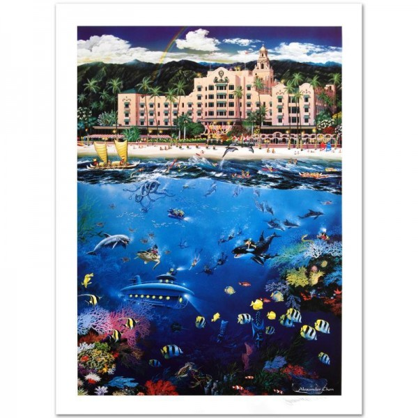 Waikiki Beach Limited Edition Lithograph by Alexander Chen! Numbered and Hand Signed with Certificate of Authenticity!