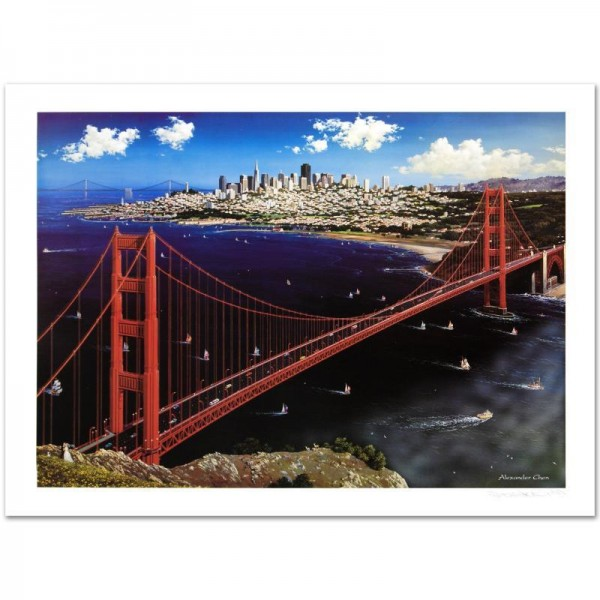 Golden Gate Limited Edition Lithograph by Alexander Chen! Numbered and Hand Signed with Certificate of Authenticity!