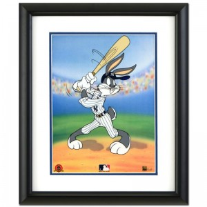Bugs Bunny at Bat for the Yankees Limited Edition Sericel by Looney Tunes with the MLB Logo and Yankees Logo! Includes Certificate of Authenticity! This Piece Comes Framed!