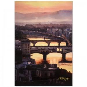 "Howard Behrens (1933-2014) - ""Sunset at the Ponte Vecchio (Florence)"" Limited Edition Hand Embellished Giclee on Canvas"