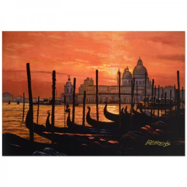 """Howard Behrens (1933-2014) - """"Sunset on the Grand Canal 2"""" Limited Edition Hand Embellished Giclee on Canvas"""