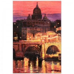"Howard Behrens (1933-2014) - ""Sunset Over St. Peter's"" Limited Edition Hand Embellished Giclee on Canvas"