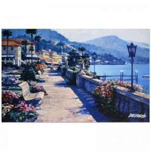 "Howard Behrens (1933-2014) - ""Bellagio Promenade"" Limited Edition Hand Embellished Giclee on Canvas with a Crackled Finish"