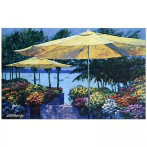 "Howard Behrens (1933-2014) - ""Flowers by the Sea"" Limited Edition Hand Embellished Giclee on Canvas with a Crackled Finish"