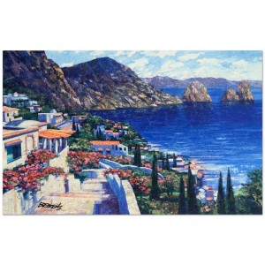 "Howard Behrens (1933-2014) - ""Isle of Capri"" Limited Edition Hand Embellished Giclee on Canvas with a Crackled Finish"