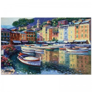 "Howard Behrens (1933-2014) - ""Portofino Harbor"" Limited Edition Hand Embellished Giclee on Canvas with a Crackled Finish"