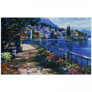 "Howard Behrens (1933-2014) - ""Sunlit Stroll"" Limited Edition Hand Embellished Giclee on Canvas with a Crackled Finish"
