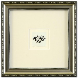 Pepe Le Pew Dancing Framed Limited Edition Etching with Hand-Tinted Color (Dated 1999)!