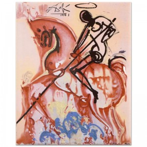 "Salvador Dali (1904-1989) - ""St. George and The Dragon"" SOLD OUT Limited Edition Glazed Ceramic Tile"