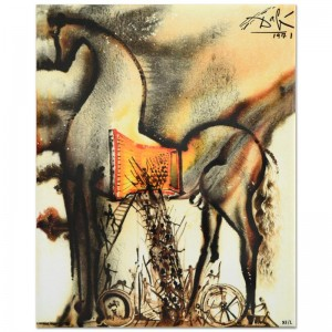 "Salvador Dali (1904-1989) - ""Trojan Horse"" SOLD OUT Limited Edition Glazed Ceramic Tile"