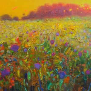 Contraluz y violetas.Veg de Granada.Esspña.30x21,5cm.11,13x7,9 pulgadas.óleo sobre tabla