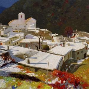 Nieves primeras.Bubión.Granada.España.60x60cm.23,5x23,5 pulgadas.óleo sobre tabla