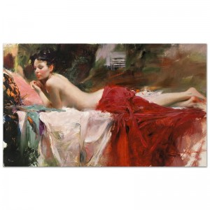 """Love Notes Limited Edition Artist-Embellished Giclee on Stretched Canvas (40"""" x 24"""") by Pino (1939-2010)"""