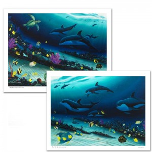 Radiant Reef LIMITED EDITION Giclee Diptych on Canvas by Wyland