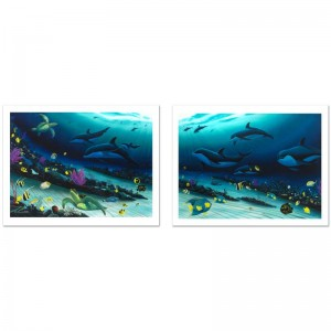 """Radiant Reef Limited Edition Giclee Diptych on Canvas (35"""" x 26"""") by Wyland"""