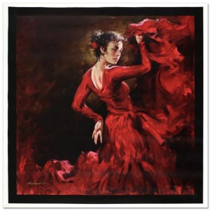 "Crimson Dancer Limited Edition Hand Embellished Giclee on Canvas (40"" x 40"") by Andrew Atroshenko"