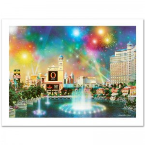 Las Vegas Evening Limited Edition Lithograph by Alexander Chen! Numbered and Hand Signed with Certificate of Authenticity!