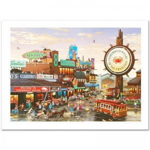 Fisherman's Wharf Limited Edition Lithograph by Alexander Chen! Numbered and Hand Signed with Certificate of Authenticity!